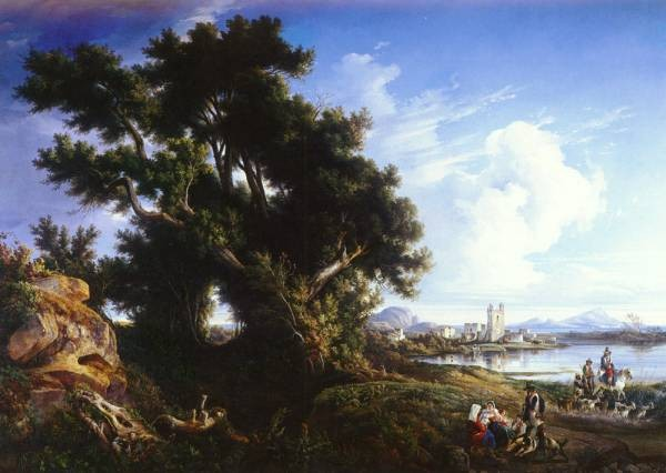 Italian 1818 to 1900 Landscape Near Naples With The Isle Of Capri In The Distance SND NAPOLI 1851 O C 174 by 2323 cm